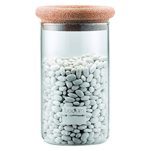 Bodum 8600-109-2 Yohki Vorratsdosen mit Korkdeckel, 1.0 L Vorratsdosen, Glas, Kork, Transparent, 10.19 x 10.19 x 18 cm