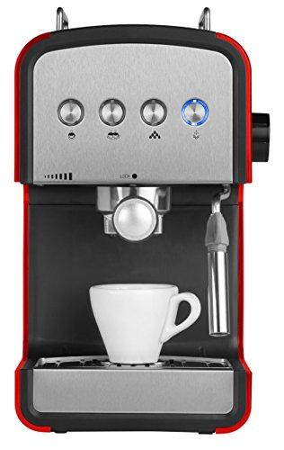 MEDION MD 17115 Espressomaschine (15 bar), Milchaufschäumer, Wassertankfassungsvermögen 1200 ml, rot/edelstahl