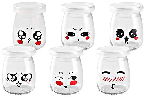 Kitchen-dream tarros de yogurt con tapa 6pcs 200ml tapa botes para yogurtera con tapa plastico cristal con escenario emoticono vasos para yogurtera para pudín postres melmeladas y natillas