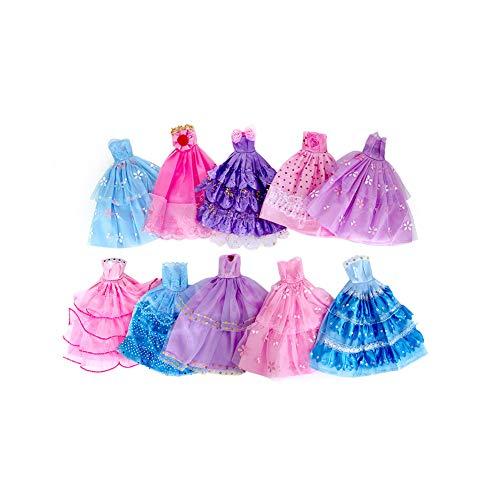 Nicejoy 10 Piezas Hechas a Mano Fiesta de la Boda de la Novedad del Vestido Vestidos muñeca (Color al Azar/Estilo) Decorativo del hogar