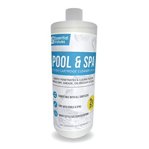 Essential Values Pool & Spa Filter Cartridge Cleaner (32oz / 1 Quart / 2 Uses), Cleaning Solution for Pool Filters & Spa Filters