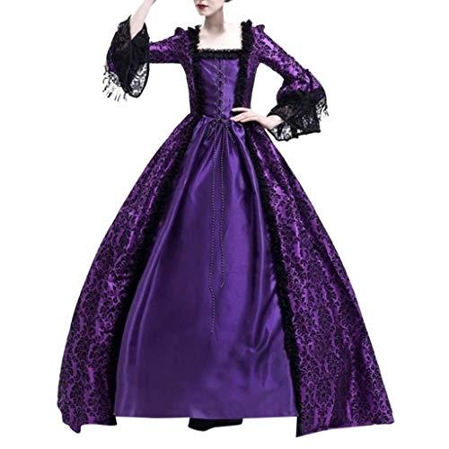Hffan Damen Mittelalterkleid Gothic Schnürung Langarm Kleider mit Trompetenärmel Viktorianischen Königin Kostüme Vintage Renaissance Medieval Princess Dress Erwachsene Cosplay Karneval Fasching Party
