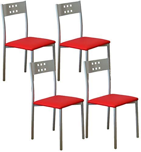 Miroytengo Pack 4 sillas Cocina Color Rojo Costa Estilo Moderno Pata Metal 86x47x41
