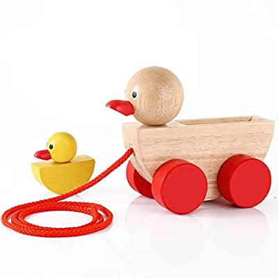 Babe Rock Baby Toys Wooden Pull Along Stacking Toy for Toddlers Girls Boys