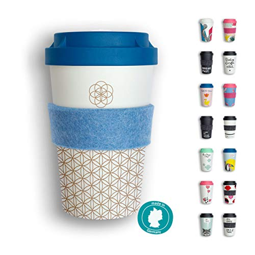 heybico Coffee to go Becher Made in Germany mit Filz-Manschette | Frei von Melamin & ohne Bambusfasern | Biologisch abbaubar & kompostierbar (Blume des Lebens)