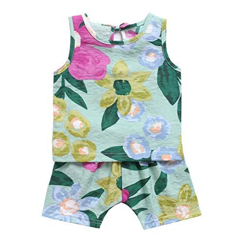 UMore Conjuntos Bebé Niña, Ropa Recién Nacidos Bebe Niño Camiseta Mangas Cortas Estampado Tops y Pantalones Verano Ropa Conjunto