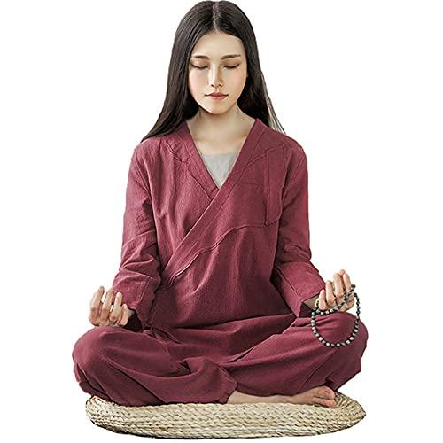 ZLZNX Tuta Yoga Tradizionale Cinese Donna Tuta Meditazione Zen Cotone Tai Chi Uniforme per Arti Marziali Abbigliamento,Rosso,XXL
