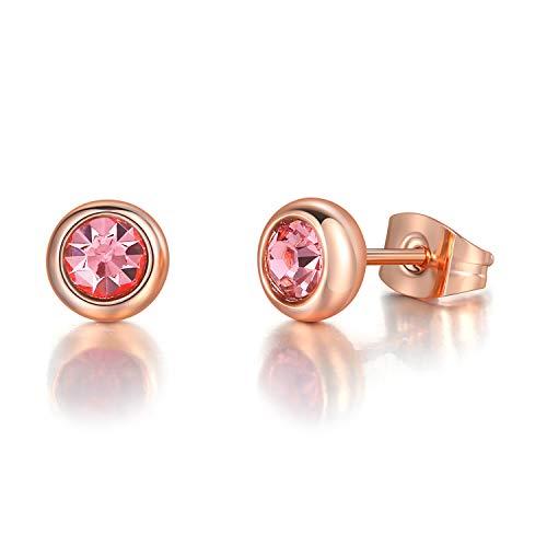 Clásica Joyería Cubic Zirconia Pendientes De Oro Rosa De Color For Las Mujeres (Metal Color : Gold Pink 635)