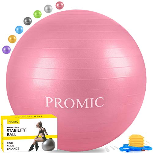 PROMIC Exercise Ball (65 cm) with Foot Pump, Professional Grade Anti Burst & Slip Resistant Stability Balance Yoga Ball for Yoga, Workout, Cardio Drumming, Classroom, Work Ball Chair (Pink)