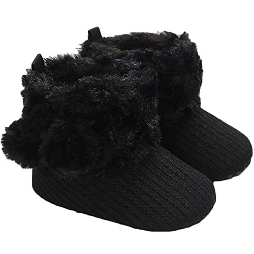 HONGTEYA Real Leather Fringe Baby Booties for Girls Boys Winter Warm Snow Boots with Tassels Soft Sole Fur LinedToddler Moccasins Shoes (0-3 Months Infant, Black)
