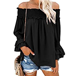 Blooming Jelly Women's Off The Shoulder Tops Ruffle Blouse Chiffon Casual Shirt Loose Pullover