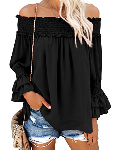 Blooming Jelly Dames Off The Shoulder Tops ruches blouse chiffon vrijetijdshemd losse pullover