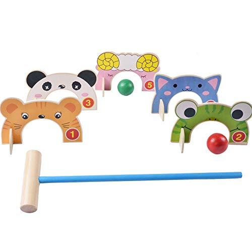 DLSMB Golf Spielzeug Set Holz Golf Spielzeug Lustige Türen Cartoon Tier Krocket Spielzeug Spiel Outdoor Familie Lernspiele Für Kinder für Indoor Outdoor (Color, Size : 45.5 * 13 * 5cm)