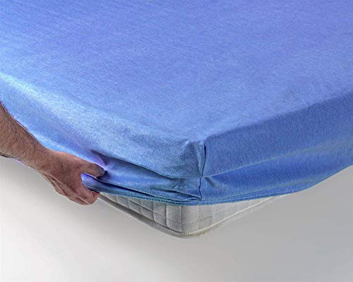 SABANALIA - Sábana Bajera Ajustable de Franela - Cama 80, Azul