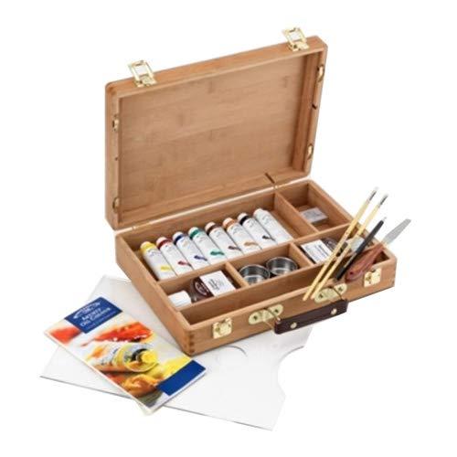 Winsor & Newton Artists - Juego de pinturas y accesorios para pinturas al óleo (en caja de bambú)
