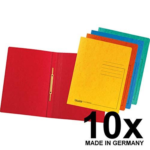 Original Falken 10er Pack Premium Schnellhefter. Made in Germany. Aus extra starkem Colorspan-Karton für DIN A4 kaufmännische Heftung farbig sortiert Hefter ideal für Büro und Schule
