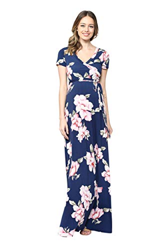 LaClef Women's Faux Wrap Maternity Maxi Dress with Adjustable Belt (Navy/Blush Flower, L)