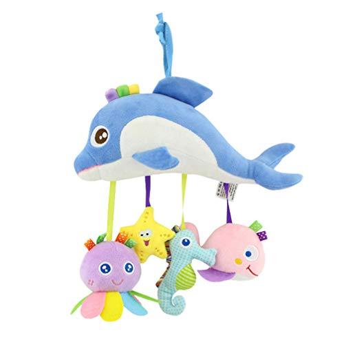 Holibanna Cochecito Recién Nacido Cuna Juguete Colgante Juguetes Sonajero para Bebé Juguetes Sonajero Colgante Animal Juguete de Peluche de Animal Marino (Delfín con Colgante de Color