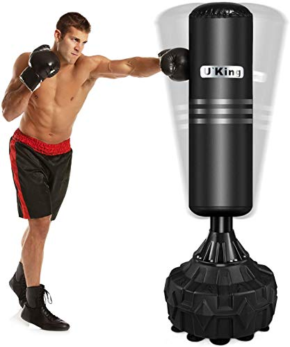 UKing Adult & Kids Freestanding Punching Bag for Heavy Boxing Training with Suction Cup Rubber Base - Free Stand Kickboxing Bags Kick Punch Bag (Dark Black, 170)