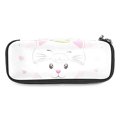 Niedliche kleine Katze in einem Prinzessinnen-Hut, Leder-Federmäppchen, Stifttasche mit doppeltem Reißverschluss, Schreibwaren-Tasche, Aufbewahrungstasche für Schule, Arbeit, Büro, Jungen und Mädchen