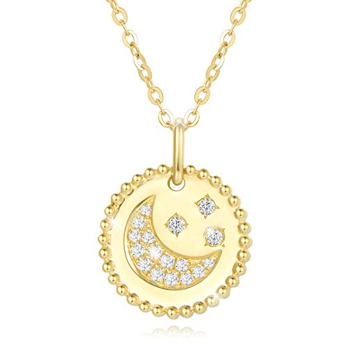 Agvana 14K Solid Gold Diamond Moon Star Coin Disc Dainty Pendant Necklace Fine Jewelry Promise Anniversary Birthday Gifts for Women Teen Girls Mom Sister Lover Wife, 16+2 Inch Extender