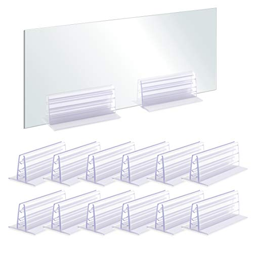 """Pack of 12 – Heavy Duty Adhesive Gripper Sneeze Guard Holder, Plexiglas Holder, Acrylic Panels Holder, Sign Holder Fits 3/16' to 1/4' Thick, Length, 3"""" Base Width, 1-1/2' Height, 1-1/4'"""