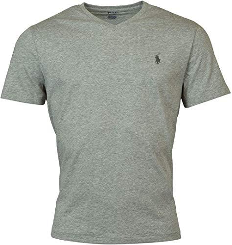 Polo Ralph Lauren Men's Classic Fit V-Neck T-Shirt Cotton (Medium, Grey Heather (Black Pony))