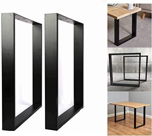 Juego de 2 patas de mesa (65 x 71 cm), diseño rectangular, color negro mate