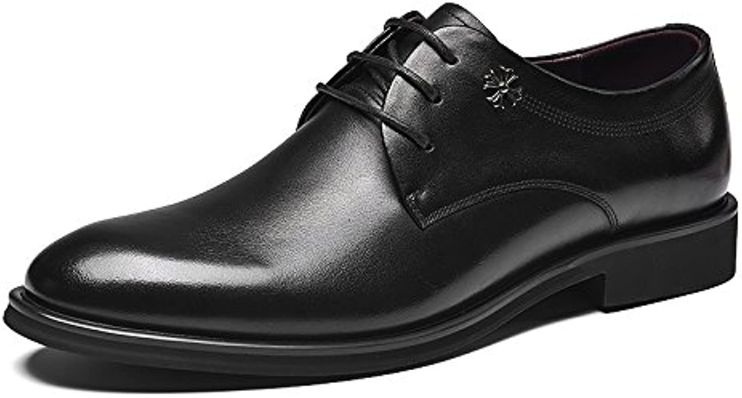 Business casual shoes men's casual fashion dress shoes leather shoes lace up shoes,black,Forty-one