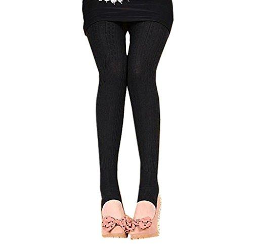 Tongshi Invierno caliente chica mujeres cómodo algodón medias Pantalones Leggings estribo pantalones (negro, Tamaño libre)