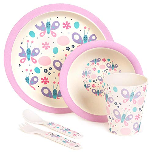 boppi 5-Piece Bamboo Eco Friendly Children's Dinnerware and Cutlery Set for Kids Toddlers with Dishwasher Safe and BPA Free Round Plate Fruit Cereal Bowl Juice Cup Beaker Fork and Spoon - Butterflies