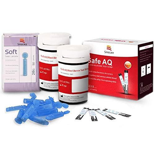 Blutzuckerteststreifen x 50 & Blutzuckertest Lanzetten x 50, Schmerzfrei, Wenig Probenvolumen (0.6μl), Lichtwarnung für Diabetiker, Nur für Safe AQ Smart/Voice
