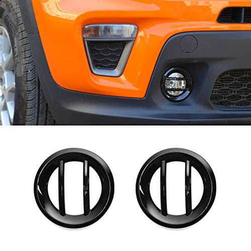 LZTQ Lamp Hoods for Jeep Renegade 2019 2020 2021 Car Front Fog Light Lamp Decoration Cover Accessories Black