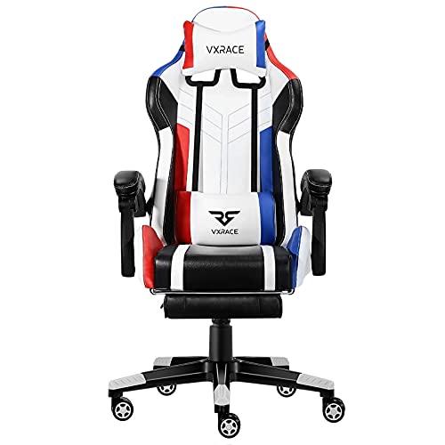 VXRACE Gaming Stuhl Bürostuhl mit Fußstütze Hochwertiger Schreibtischstuhl Ergonomischer Computerstuhl Drehbarer PC Stuhl Höhenverstellbarer Lehnstuhl Rot&Blau