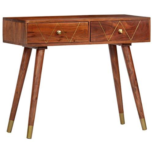 vidaXL Legno Massello di Acacia Tavolo Consolle Elegante Robusto con Vano Aperto e Cassetti Tavolino da Salotto Arredi Ingresso 90x35x76 cm Marrone