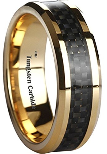 BestToHave Mens Tungsten Carbide Classic Gold Gp Carbon Inlay Wedding Engagement Comfort Fit Jewellery Band Ring - Size W (Available in Most Sizes)
