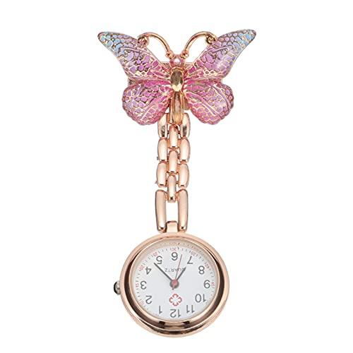 UKCOCO Reloj de Enfermera con Patrón de Mariposa Reloj de Solapa de Cristal Reloj de Cuarzo Telescópico Clip en El Reloj con Insignia de Estetoscopio de Segunda Mano Fob Reloj de
