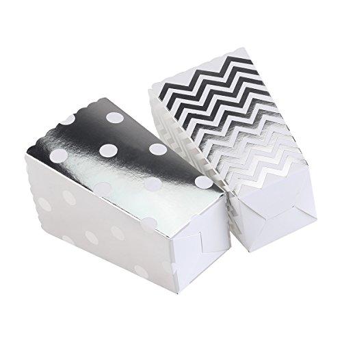 NUOLUX 50pcs Cajas de Palomitas de maíz Amarillo diseño Trio Mini Scalloped Bordado de cartón Partido Caramelo contenedor envases Cajas (Plata)