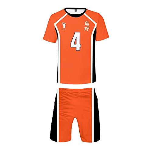 Haikyuu !! Karasuno High School Volleyball Club Hinata Shouyou Cosplay, Volleyball Uniform Jersey Kurzarm T-Shirt und Shorts 2 Stück Set Trainingsanzug