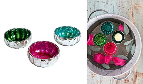itsisa Glas Schwimmschale rund (3er Set) D: 7cm - Schwimmkerzen, Schwimmlicht, Tischdeko, Teelichthalter