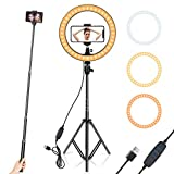 HANDS FREE& EXTENDABLE HOLDER: clamp on table/desk/bed and rotate any angle to free your hands. It's more convenient for you to watch shows on phone or make videos. DIMMABLE: Multiple brightness settings to get just the right look. Just choose from 3...