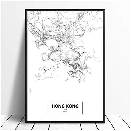 NRRTBWDHL Hong Kong, China Schwarz Weiß Weltstadtplan Poster Leinwanddruck Wandkunst Wohnkultur für Wohnzimmer-20X30 Zoll ohne Rahmen