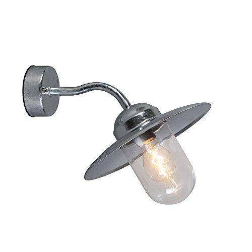 QAZQA Landelijk Buitenwandlamp zink IP44 - Munich Glas/Metaal Rond/Bol Geschikt voor LED Max. 1 x 60 Watt