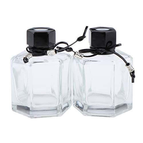 2pcs 100ml Flacons de Parfum Diffuseurs en Verre avec Bouchons - Noir