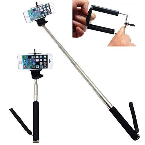 eimo Nero allungabile telescopica Self-portrait Foto Selfie portatile Stick Monopiede con Adajustable Phone Holder Camera Clip per iPhone 5 / 5s 6 6 plus Samsung Fotocamera