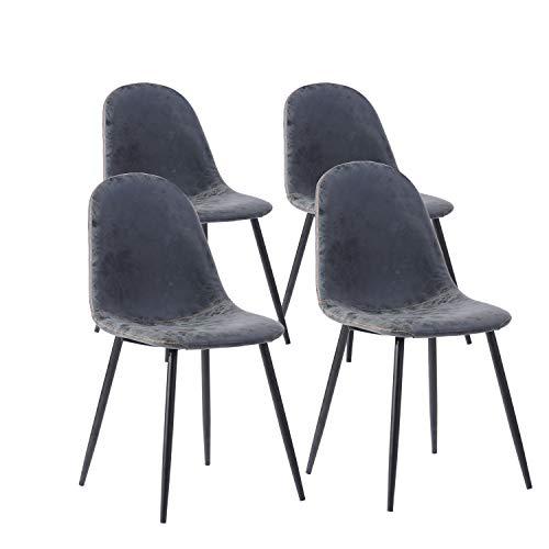MEUBLE COSY fauteuil sedia cuoio nero 42.5x54.5x86 cm