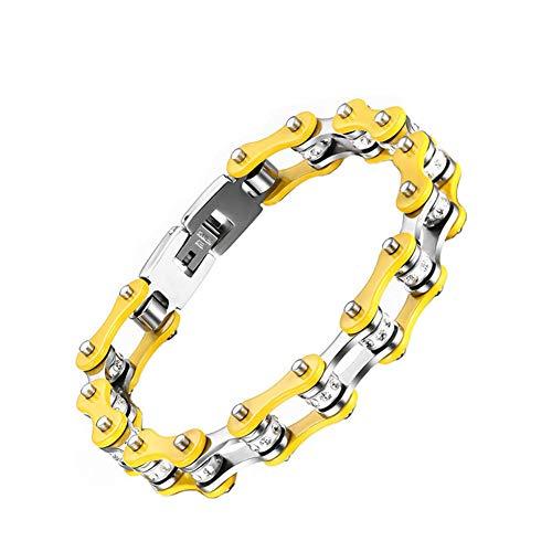 aruie pulsera para hombre Mujer de acero con brillantes diamante simulé de cadena de bicicleta moto amarillo plata bicolor Motard biker cadena de mano joyas regalo