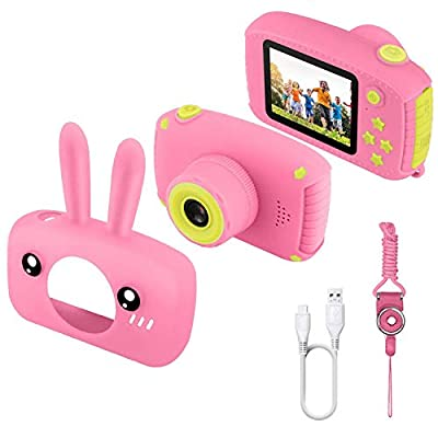 JAMSWALL Kids Camera for Girls,12MP 1080P FHD Digital Video Camera with 28 Funny Filters, Soft Silicone Cute Shell, Lanyard, 2.4 Inch IPS Screen for 3-14 Years Kids Birthday Gift Chrismas