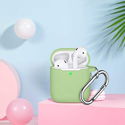 AirPods Case Cover with Keychain, Full Protective Silicone AirPods Accessories Skin Cover for Women Girl with Apple AirPods Wireless Charging Case,Front LED Visible-Avocado