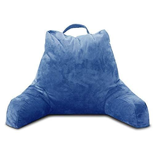 Muitar Almohada de lectura de 45,7 cm con brazos para sentarse en la cama, soporte de espalda para cama con brazos, cojín de respaldo con bolsillos para leer y ver la televisión gris (azul)